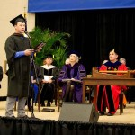 Silas House addresses the ceremony inaugurating Dr. Lyle Roelofs as the ninth president of Berea College.
