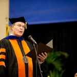 Berea College President Emeritus Larry Shinn addresses the audience at the inauguration of Berea's ninth president Lyle Roelofs.