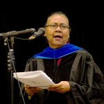 Dr. bell hooks speaks at the Inauguration of Berea College's ninth President Lyle Roelofs.
