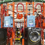 Two assembly lines, costing over $100 million, produce high-efficiency frontload washers and dryers, adding 200 jobs to Appliance Park in Louisville, Ky. (Photo courtesy of GE)