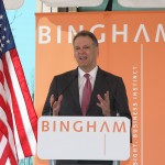 Bingham Chairman Jay Zimmerman talks Thursday about why the company chose Lexington during Bingham's grand opening celebration.
