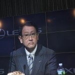 Akio Toyoda, president of Toyota Motor Corp., joined Friday's press conference via satellite from New York.