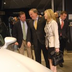 Kentucky Senate President Bob Stivers, center, and his wife, Regina, a field representative for U.S. Senate Republican Leader Mitch McConnell, admire the Lexus ES, which will be manufactured in Georgetown, Ky.