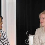 Renee Shaw, producer and host at KET, talks with Vickie Yates Brown during a panel discussion at the Women Leading Kentucky Conference.
