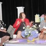 Community Trust Bank's Jean Hale, left, and Lindy Karns, director at Blue and Co., share career and life lessons they've learned during a panel discussion at the Women Leading Kentucky Conference. Renee Shaw, producer and host at KET, moderated the panel.