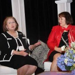 Community Trust Bank President and CEO Jean Hale and Lindy Karns, director at Blue and Co. received the Martha Layne Collins Leadership Award. Renee Shaw, right, a producer and host at KET, moderated the panel.