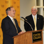 Richard Trollinger, vice president for college relations at Centre, explains the $250 million endowment during a news conference Tuesday at Centre College. President John A. Roush is at right.