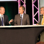 Mayor Mick Cornett, left, explains how Oklahoma City invested in its infrastructure and changed the trajectory of the city. In addition to being the keynote speaker, he spoke on a panel with Louisville Mayor Greg Fischer that was moderated by WHAS-TV anchor Joe Arnold, right.