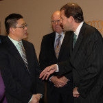 Congressman Andy Barr greets one of the owners of nine new high-tech firms that located in Lexington this year.