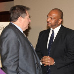 James Bauer, CEO of Bauer Labs, speaks with Danny Murphy, Commerce Lexington Inc. chair and assistant dean of administration and community engagement at the University of Kentucky.