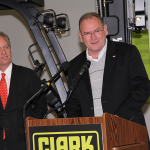 Dennis Lawrence, president and CEO of Clark Material Handling, hosted Monday's press conference unveiling the details of the BEAM study.