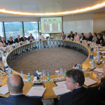 The Kentucky delegation received a briefing on economic opportunities in the United Arab Emirates in the Dubai Chamber boardroom.