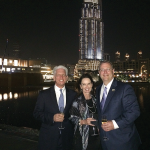 Kentucky Horse Park Executive Director John Nicholson, attorney Laura D'Angelo and Commerce Lexington Executive Director Bob Quick chat during a private reception hosted by HRH Princess Haya Bint Al Hussein at the Armani Hotel.