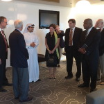 Gov. Steve Beshear, Kentucky Chamber Board Chair Elizabeth McCoy, Chamber President Dave Adkisson and other Kentucky leaders meet H.E. Hamad Buamim, director general of the Dubai Chamber of Commerce and Industry.