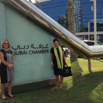 Paula Hanson of Dean Dorton Allen Ford and Kentucky Chamber Board Chair Elizabeth McCoy visit the Dubai Chamber of Commerce and Industry.
