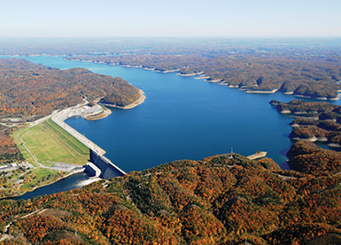 An aerial view of Wolf Creek Dam taken in November 2009.