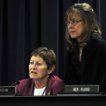 Rep. Mary Lou Marzian, D-Louisville (left), and Rep. Kelly Flood, D-Lexington, follow testimony during a meeting of the House Health and Welfare Committee.