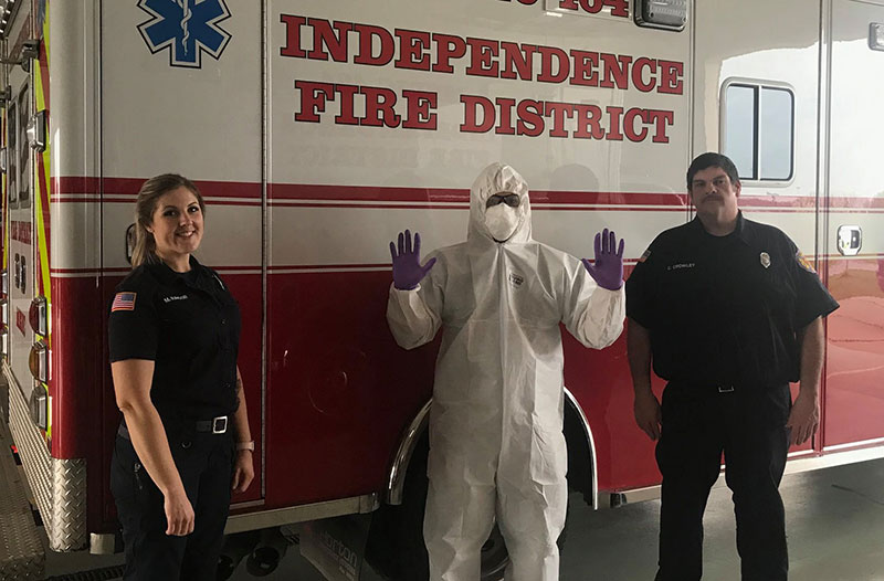 Camco Chemical recently donated PPE to the Independence Fire District. (Photo courtesy of the Independence Fire District)