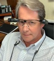 Dr. R. Brent Wright wearing the smart glasses.