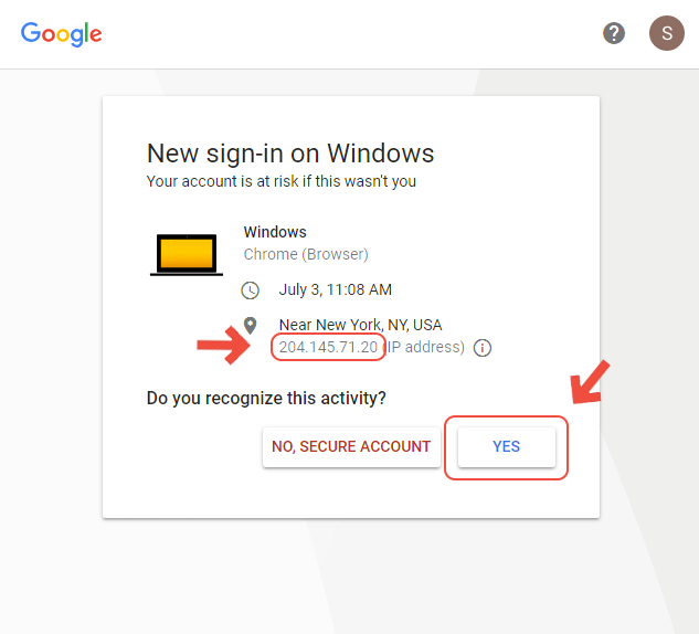 Google is showing a login from a computer in NYC  Why is