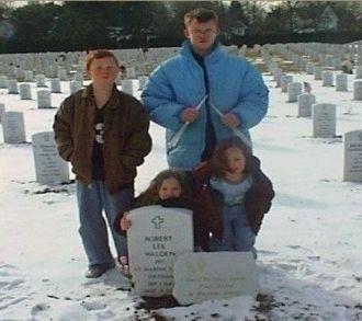 My children at dads grave