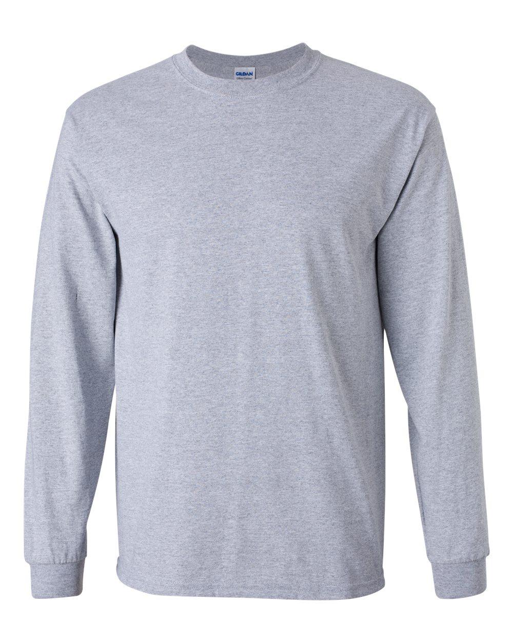 Gildan Ultra Cotton Mens Crewneck Long Sleeve T Shirt 2400 Sport ...