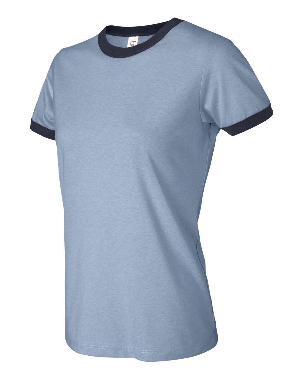 fdc040d6 Bella Canvas Women's Jersey Short-Sleeve Ringer T-Shirt B6050 S-2XL ...