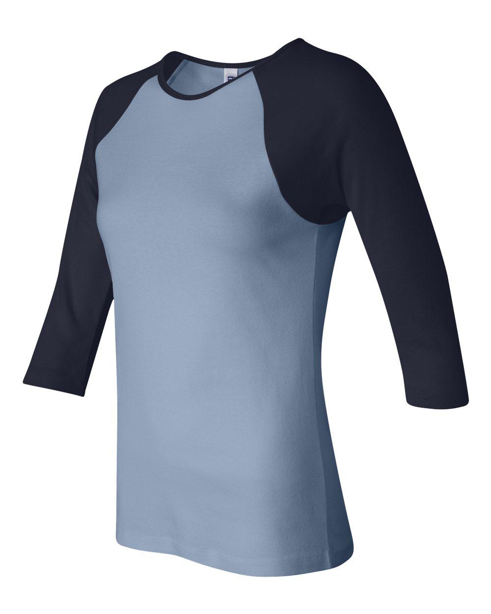 Bella-Canvas-Womens-Stretch-Rib-3-4-Sleeve-Contrast-Raglan-T-Shirt-B2000 thumbnail 4