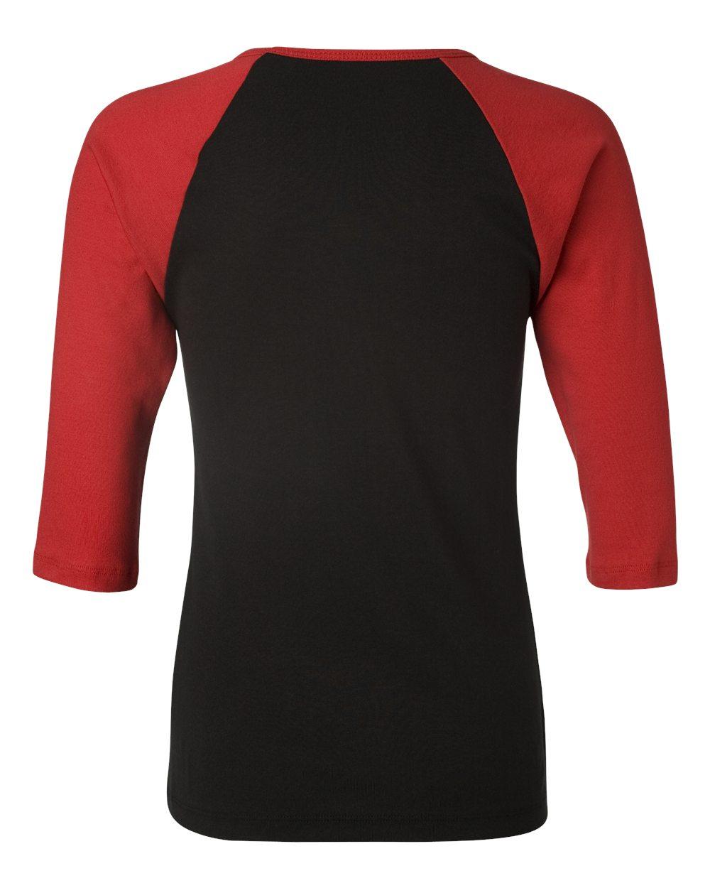 Bella-Canvas-Womens-Stretch-Rib-3-4-Sleeve-Contrast-Raglan-T-Shirt-B2000 thumbnail 8
