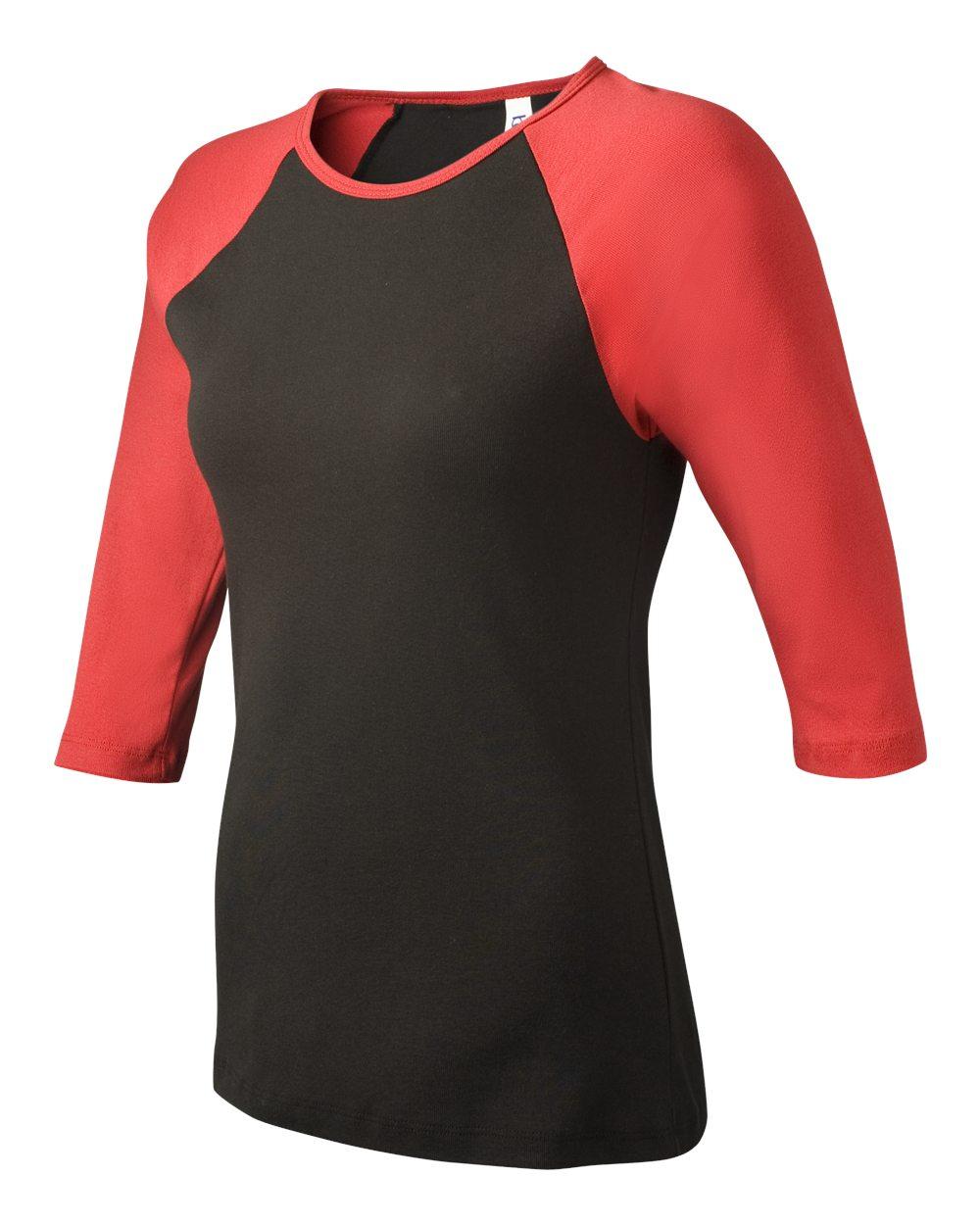 Bella-Canvas-Womens-Stretch-Rib-3-4-Sleeve-Contrast-Raglan-T-Shirt-B2000 thumbnail 7