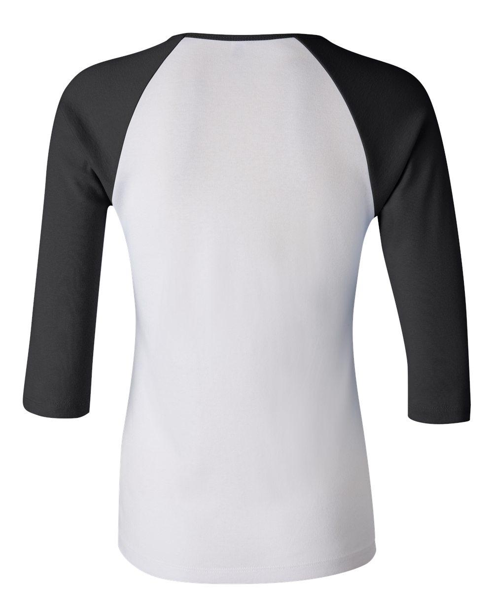 Bella-Canvas-Womens-Stretch-Rib-3-4-Sleeve-Contrast-Raglan-T-Shirt-B2000 thumbnail 14