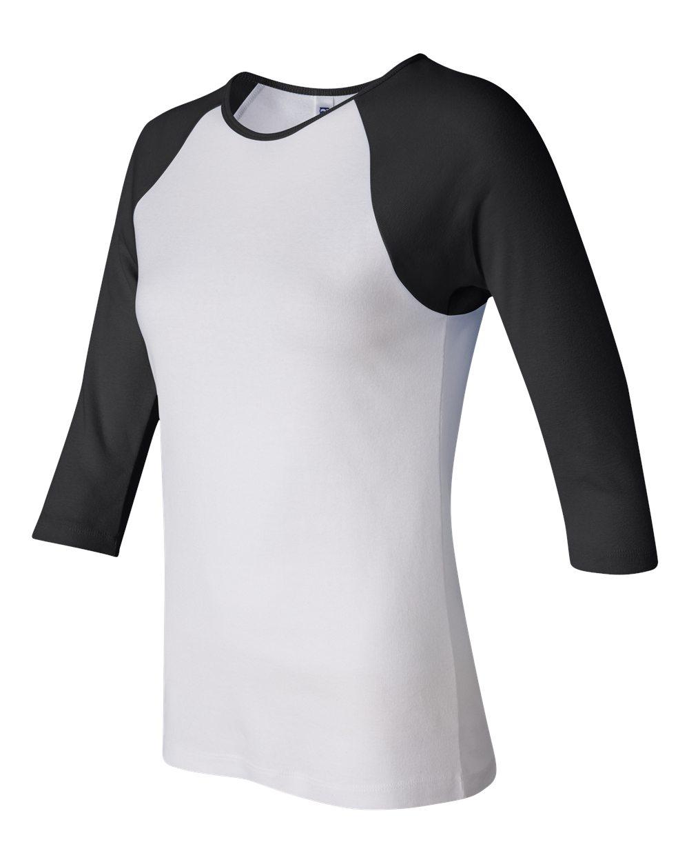 Bella-Canvas-Womens-Stretch-Rib-3-4-Sleeve-Contrast-Raglan-T-Shirt-B2000 thumbnail 13