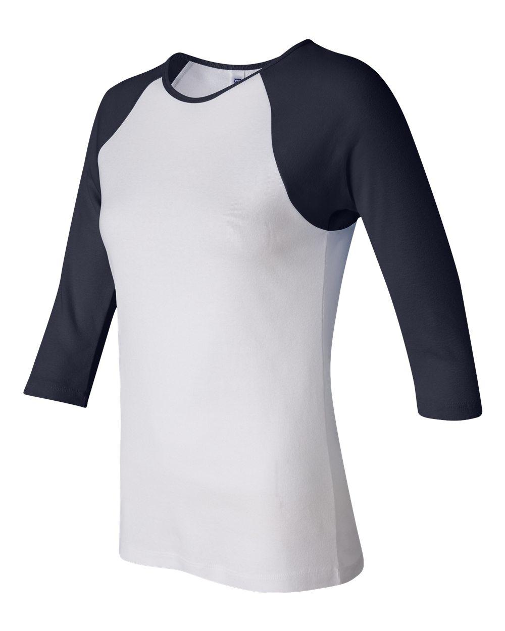Bella-Canvas-Womens-Stretch-Rib-3-4-Sleeve-Contrast-Raglan-T-Shirt-B2000 thumbnail 19
