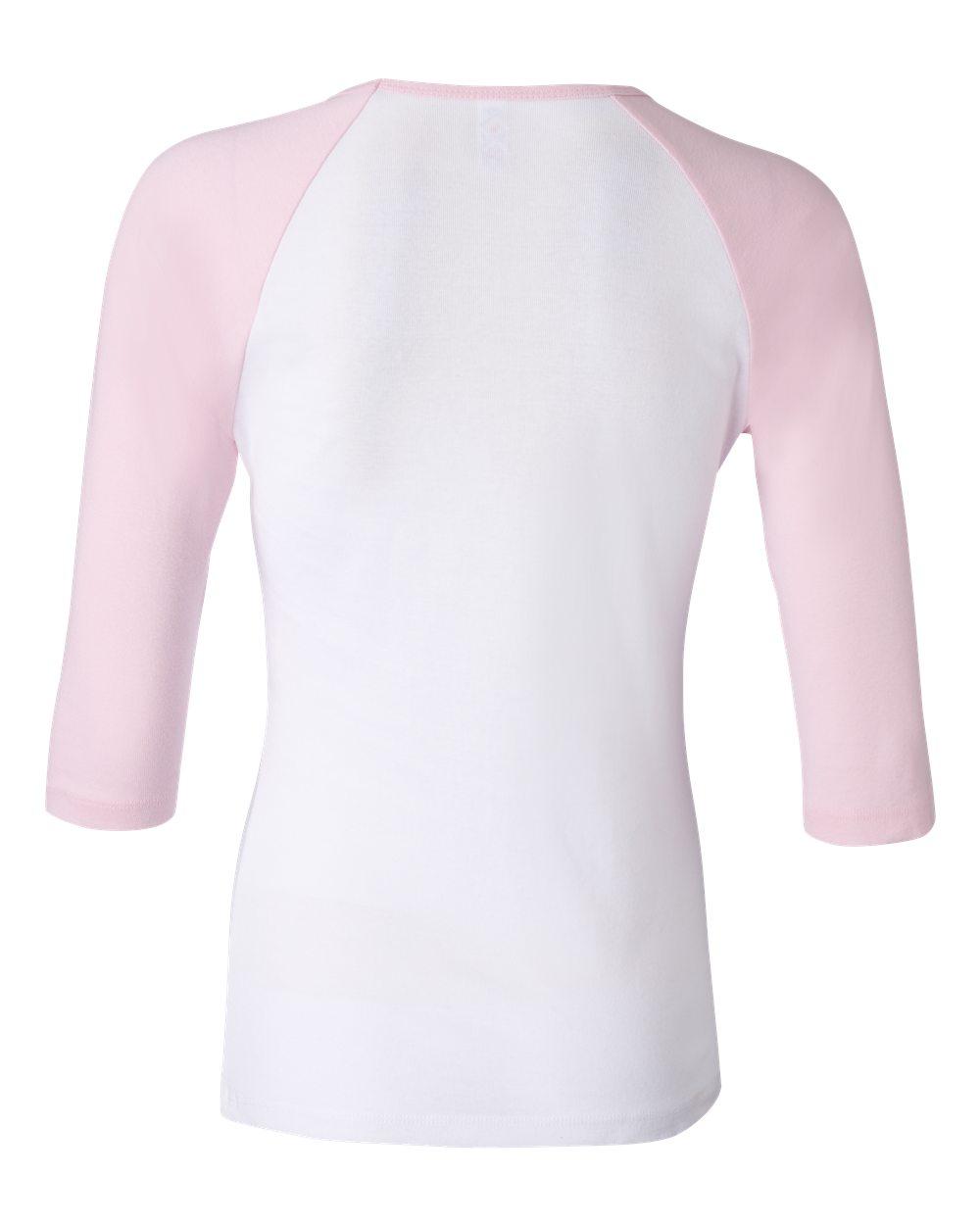 Bella-Canvas-Womens-Stretch-Rib-3-4-Sleeve-Contrast-Raglan-T-Shirt-B2000 thumbnail 23