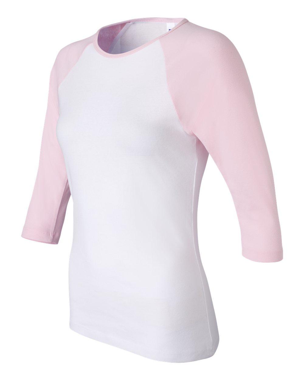 Bella-Canvas-Womens-Stretch-Rib-3-4-Sleeve-Contrast-Raglan-T-Shirt-B2000 thumbnail 22