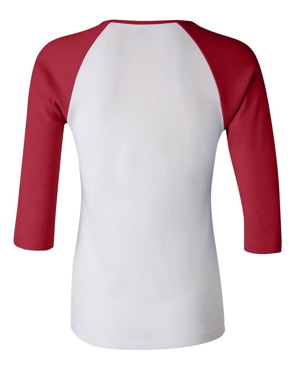 Bella-Canvas-Womens-Stretch-Rib-3-4-Sleeve-Contrast-Raglan-T-Shirt-B2000 thumbnail 26