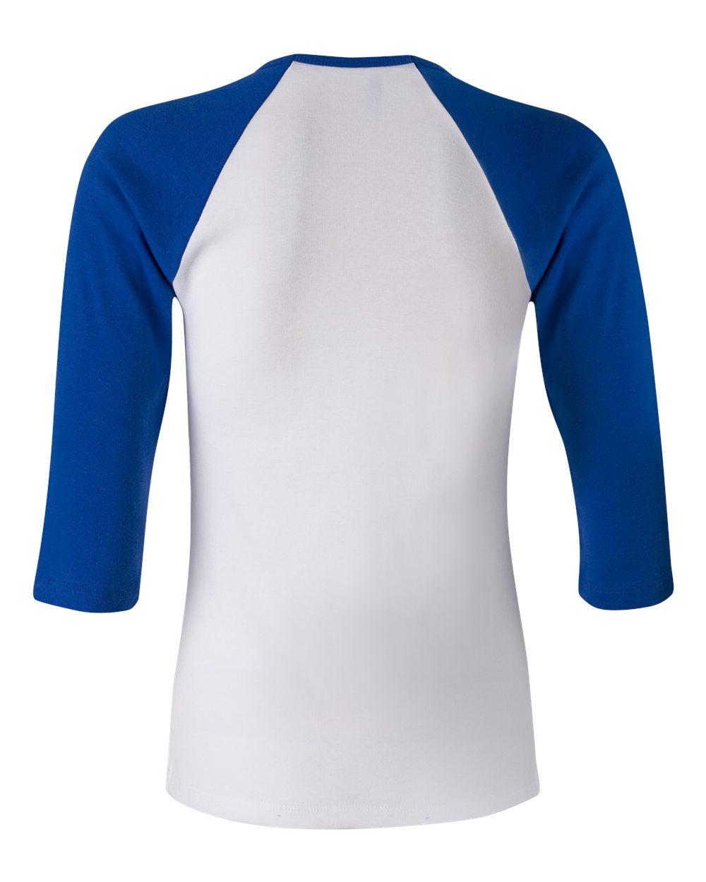 Bella-Canvas-Womens-Stretch-Rib-3-4-Sleeve-Contrast-Raglan-T-Shirt-B2000 thumbnail 29