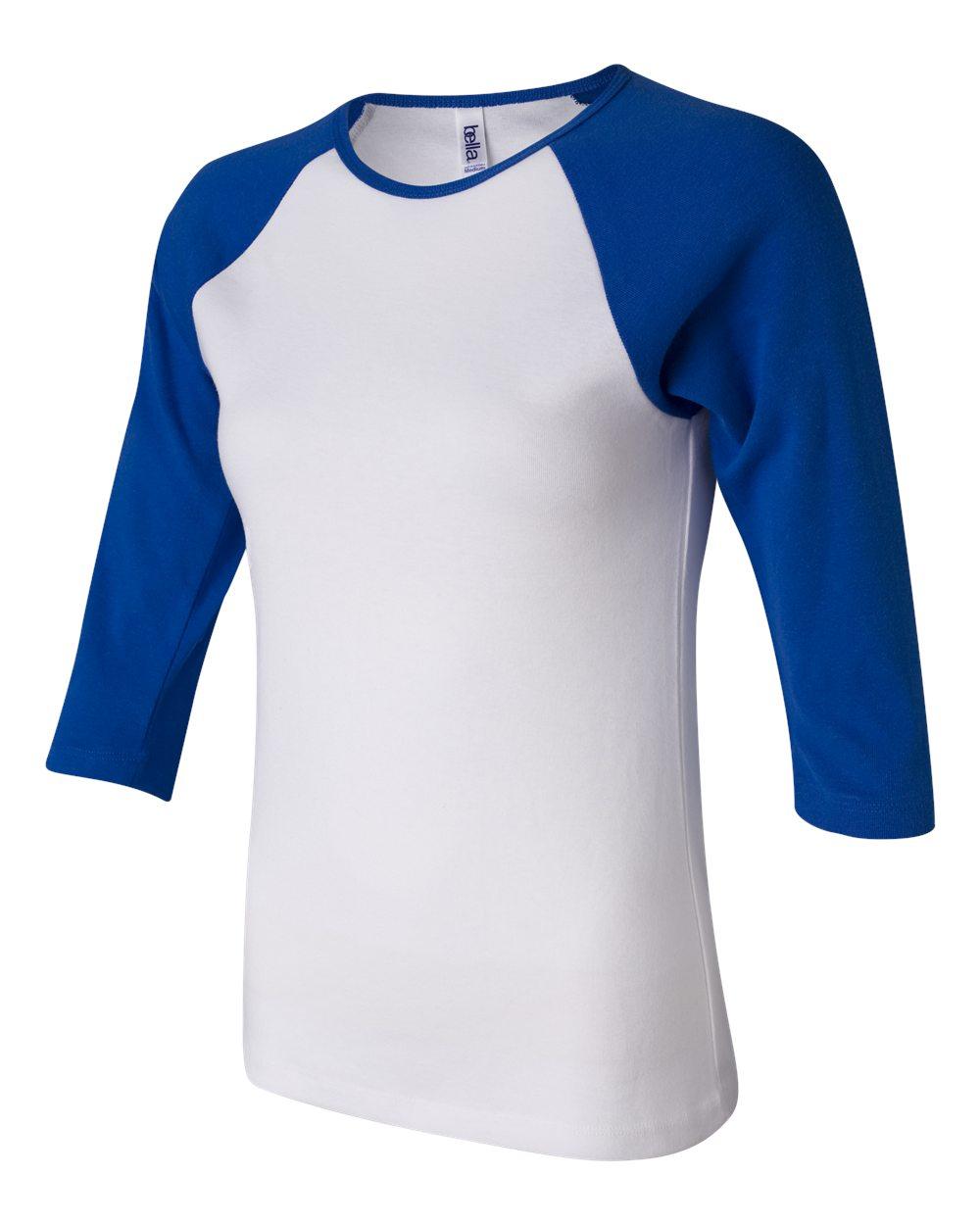 Bella-Canvas-Womens-Stretch-Rib-3-4-Sleeve-Contrast-Raglan-T-Shirt-B2000 thumbnail 28