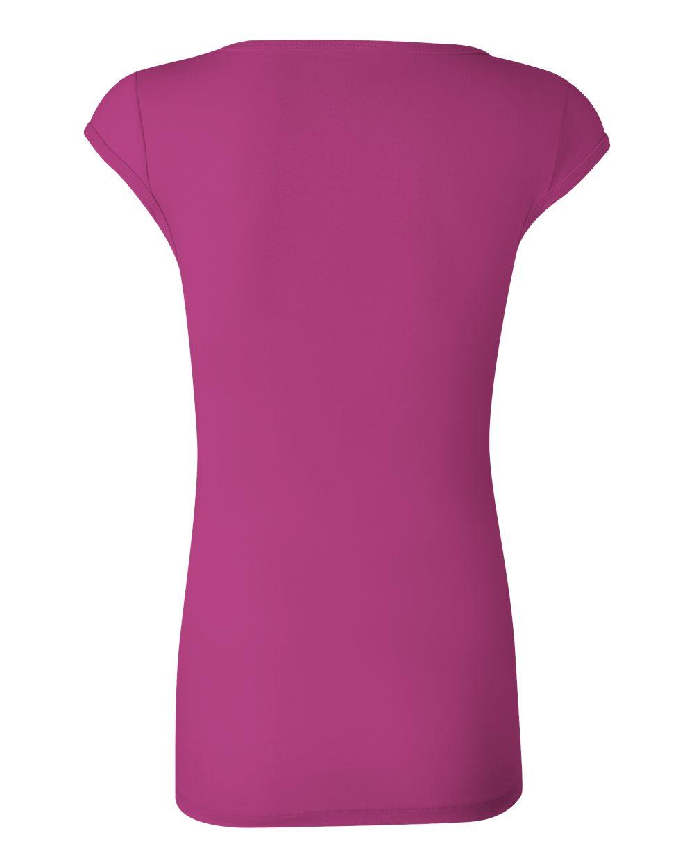 Bella-Canvas-Women-039-s-Sheer-Mini-Rib-Cap-Sleeve-Deep-V-Neck-T-Shirt-B8705-S-2XL thumbnail 7