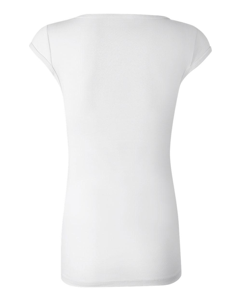 Bella-Canvas-Women-039-s-Sheer-Mini-Rib-Cap-Sleeve-Deep-V-Neck-T-Shirt-B8705-S-2XL thumbnail 4