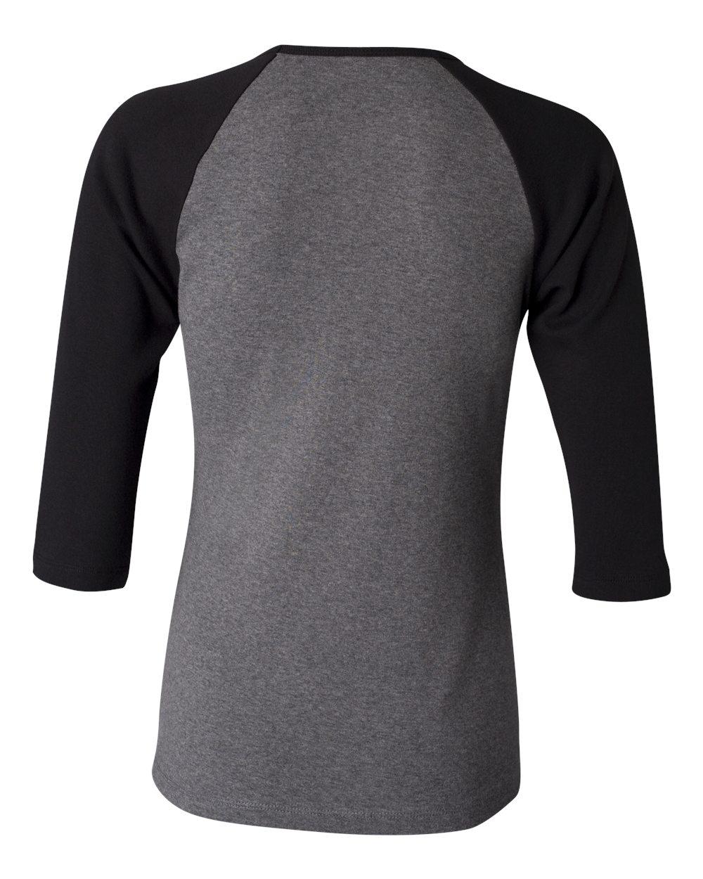Bella-Canvas-Womens-Stretch-Rib-3-4-Sleeve-Contrast-Raglan-T-Shirt-B2000 thumbnail 11