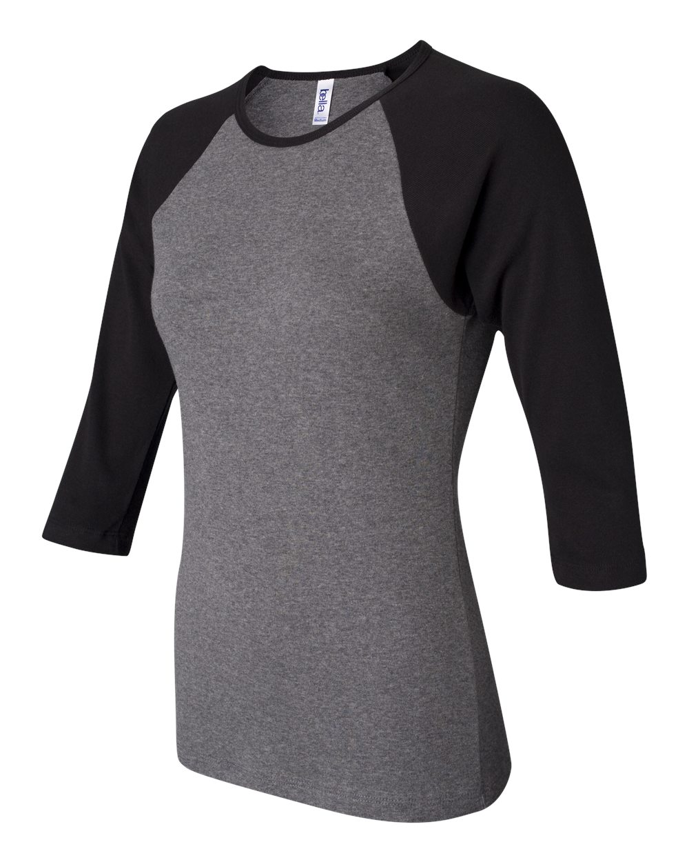 Bella-Canvas-Womens-Stretch-Rib-3-4-Sleeve-Contrast-Raglan-T-Shirt-B2000 thumbnail 10