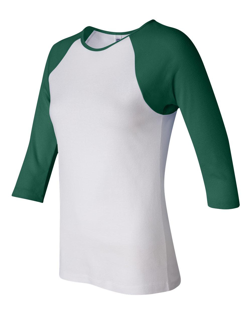 Bella-Canvas-Womens-Stretch-Rib-3-4-Sleeve-Contrast-Raglan-T-Shirt-B2000 thumbnail 16