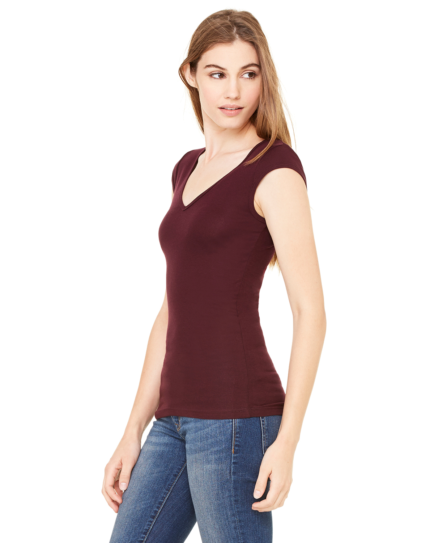 Bella-Canvas-Women-039-s-Sheer-Mini-Rib-Cap-Sleeve-Deep-V-Neck-T-Shirt-B8705-S-2XL thumbnail 14