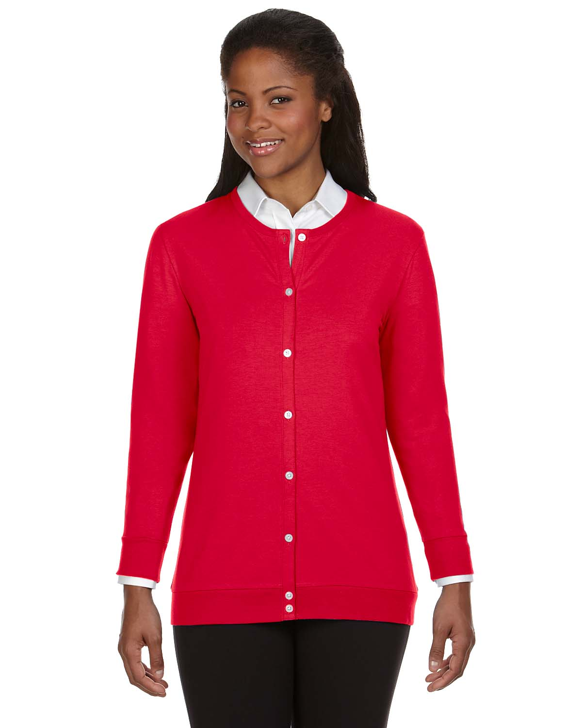 Devon & Jones Dp181w Ladies' Fit Ribbon Cardigan S Red | eBay