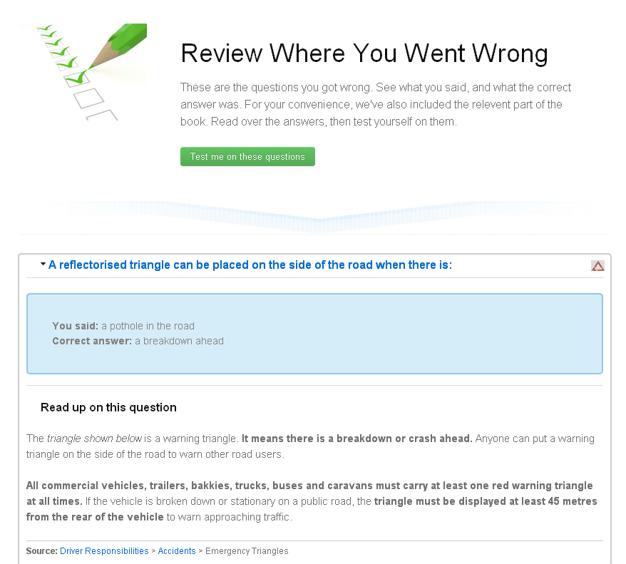 Review questions you got wrong