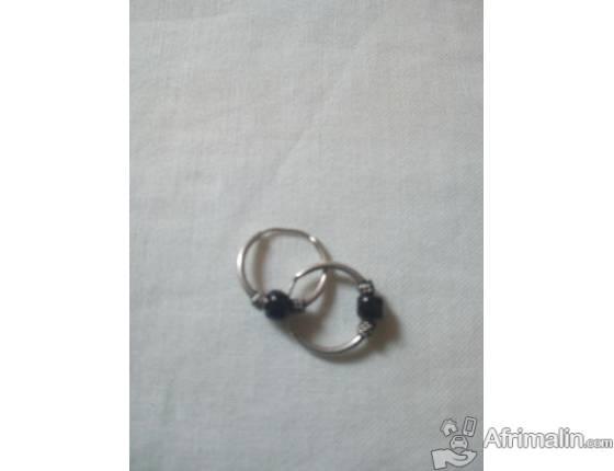 Boucles d'oreille créole noir pour bébé - en argent