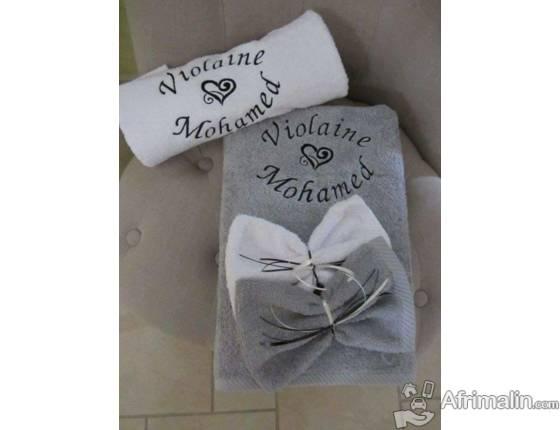 DUO drap douche personnalisé avec gants brodés