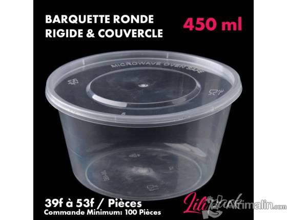 Boite plastique ronde rigide avec couvercle 450ml