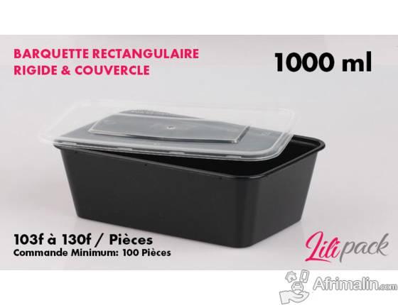 Boite plastique rectangulaire rigide avec couvercle 1000ml